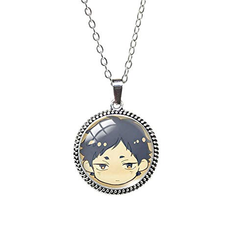 Souvenir Art Pendant Antique Necklace Haikyuu Volleyball Boys Pattern Glass Cabochon Dome Pendants Jewelry