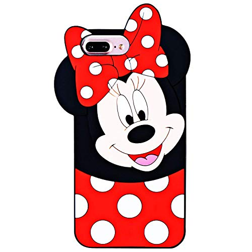 Leosimp - Custodia Minnie per iPhone, Gomma Silicone, iPhone 8/7/6/6s Plus Minnie, iPhone 6Plus/7Plus/8Plus