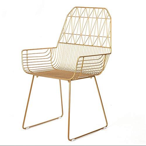 Hohe Barhocker mit Rückenlehne Hohleisen Wire Chair Modern Dining Hocker Metallstühle mit Armlehnen Outdoor Indoor Pub Küchentheke Poliert Lounge Barhocker G (Color : Gold)