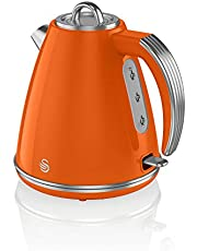 Swan SK19020ON Retro 1,5 liter Jug Kettle met 360 graden draaibare basis, 3 kW, oranje