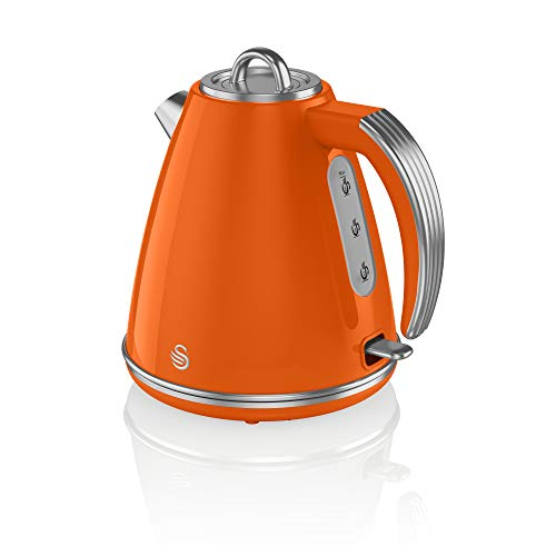 Swan Retro 1.5 Litre Jug Kettle, Orange, with 360 Degree Rotational Base, 3KW Fast Boil, Easy Pour, SK19020ON