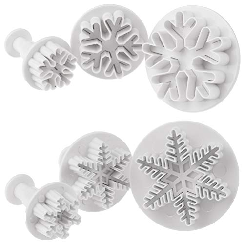 Eshylala 6 Packs Snowflake Cookie Cutters Plunger Decorating Fondant Cookie Cake Plunger Cutters Molds Embossing Tool for Christmas and Winter Holiday