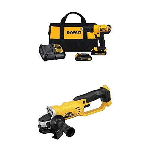 """Dewalt DCD771C2 20V MAX Cordless Lithium-Ion 1/2 inch Compact Drill Driver Kit and 4-1/2"""" grinder (Tool Only)"""