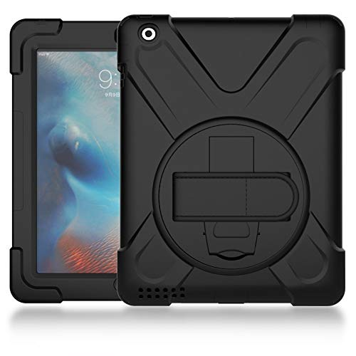 YANCAI Case Cover Pirate series Three-in-one Shatter-Resistant Shell, Drop-Proof, Dust-Proof, Shock-Proof, Splash-Proof 360 Degree Rotating Multi-Function Grip Bracket for iPad2/3/4 (Color : Black)