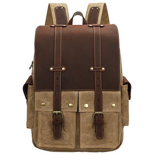 LWSS 15.4-Inch Laptop Backpack Retro Waterproof Crazy Horse Leather Outdoor Travel Men's Women's Gifts 12.59x5.9x18.11in/Khaki