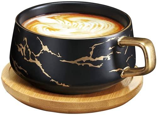 VETIN Cappuccino Tassen mit Unterteller, 300 ml Espressotassen aus Porzellan für Tee Kaffee Cappuccino, Kaffee-Tassen mit Holzscheibe - Schwarz