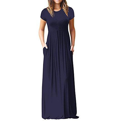VENMO Vestidos Mujer Casual Largos Verano, Mujeres O-Cuello de los Bolsillos Casuales Manga Corta Piso Vestido de Fiesta Vestido Suelto Largos (Azul Marino, M)