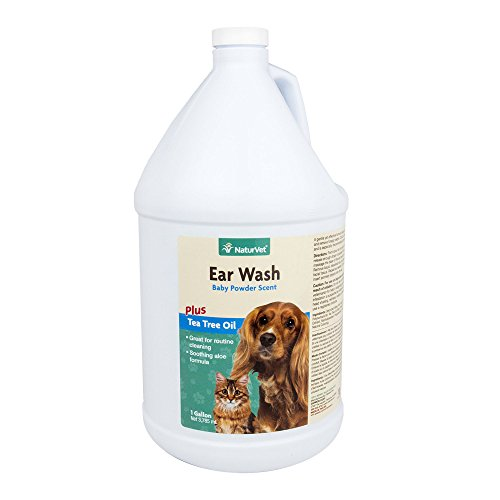 NaturVet Pet Ear Wash Plus Aloe and Tea Tree Oil for Dogs and Cats Liquid Made in the USA 1 Gallon