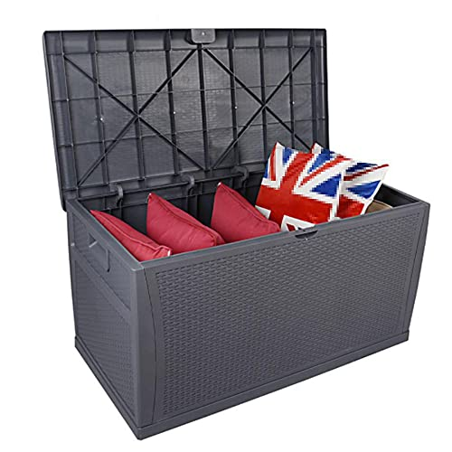 Caja de almacenamiento al aire libre de la tapa-121Gal,Caja de cubierta de mimbre de resina