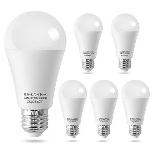 Lampadina LED E27 19W, Luce Bianca Fredda 6400K, 1615 Lumen, Angolo a Fascio 180°, Non Dimmerabile, Pacco da 5.