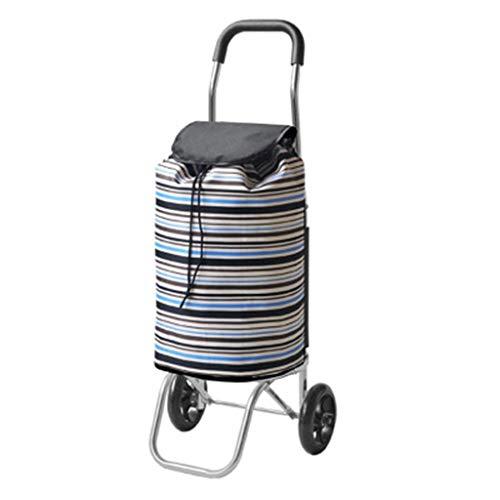 Handwagen Trolley gestreifte Einkaufstasche Lagerrad einfach bergauf tragbare Faltbare Warenkorb Aluminium Reisegepäck Warenkorb Geschenk (Color : B, Size : 35 * 15 * 65cm)