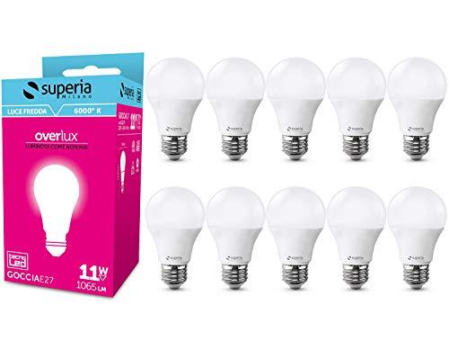 Superia Lampadina LED E27 Goccia, 11W (Equivalenti 70W), Luce Fredda 6000K, 1065 lumen, GE27F, Pacco da 10