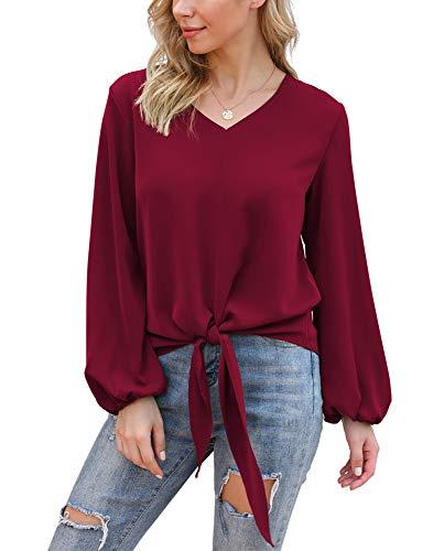 VIISHOW Womens Lartern Sleeve Blouses Tie Front V Neck Loose Fit Summer Blouses Long Sleeve Shirt, Wine red, Medium