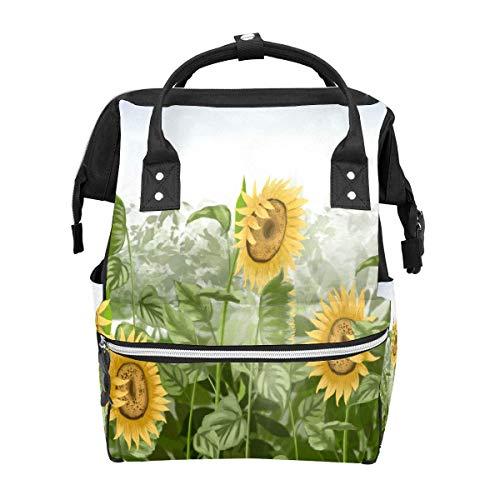Rucksack gelb blühende Sonnenblumen Pflanze große Kapazität Tasche Reise Daypack