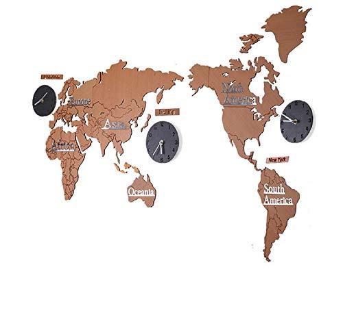 SD&EY DIY 3D Acryl Houten Wandklok DIY 3D Wereldkaart Grote Continenten 130 CM