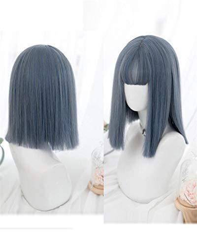 Cosplay perruque chaude teinte perruque haute température soie perruque cheveux longs perruque anime perruque fashion lady fashion bleu gris 36 CM perruque_16 zoll
