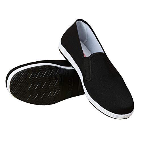 Zapatillas de Estilo Chino Kung Fu Artes Marciales Zapatos Tai Chi Suela de Goma Unisex Negro Tamaño EU 42
