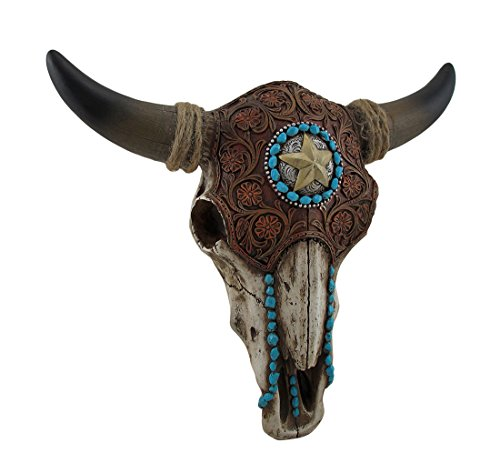LL Home 12699 Bull Skull Tooled Leather Home Decor, One Size, Brown