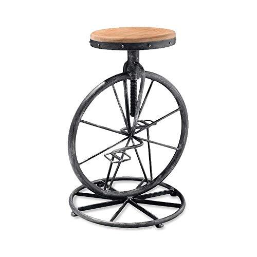 DALIBAI Silla creativa de la barra de la bicicleta del hierro labrado del viento industrial, silla del taburete de la barra de la elevación de la cara de madera sólida del taburete alto retro