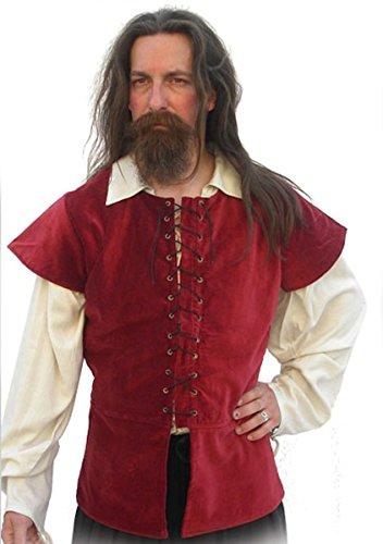 Dark Dreams Gothic Mittelalter Pirat Jacke Weste Alastair Wams Samt Baumwolle rot schwarz grün S M L XL, Größe:XXL, Farbe:Bordeaux