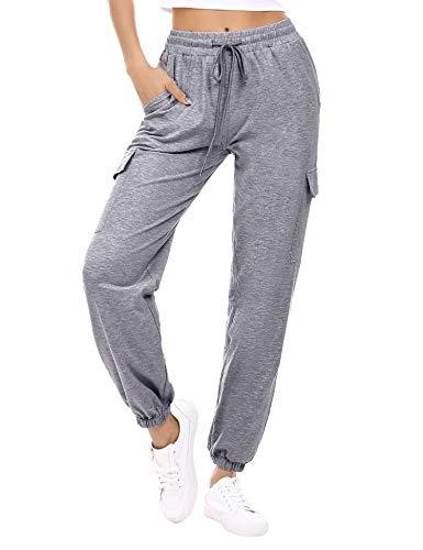 Doaraha Pantalon Jogging Femme en Coton Large avec 4 Poches Léger Confortable et Agréable à Porter Idéal pour Sport Yoga et Fitness en Hiver Grande Taille S-XXL,L,Gris Foncé,L