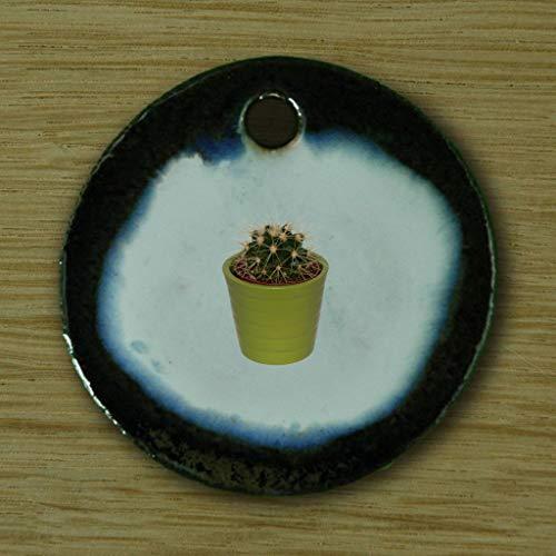 Echtes Kunsthandwerk: Toller Keramik Anhänger Kaktus; Pflanze, Garten, Kakteen, Schwiegermutter, Geschenk, Kette