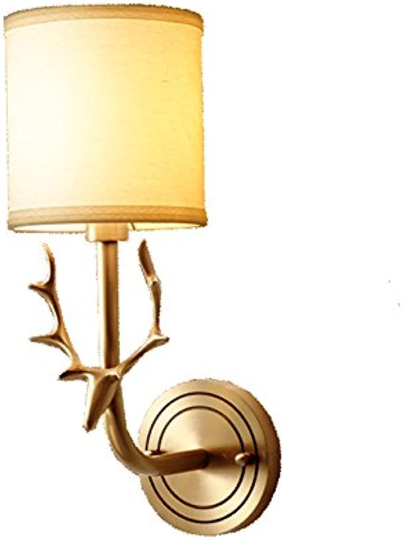 CDREAM Wandleuchte Volles Kupfer Schlafzimmer Nachttischlampen Moderne Minimalist Wohnzimmer Gang Wandbeleuchtung Glas Stoff-Schatten,B