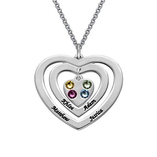 Lucky Stone Triple Heart Necklace Nome Personalizzato Personality Fashion Ladies Gift(argentato-base 16)