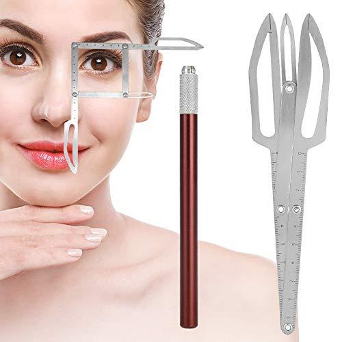 Wenkbrauw tattoo make-up meetinstrument met roestvrijstalen wenkbrauwliniaal in gouden sectie microblading voor artiesten en beginners