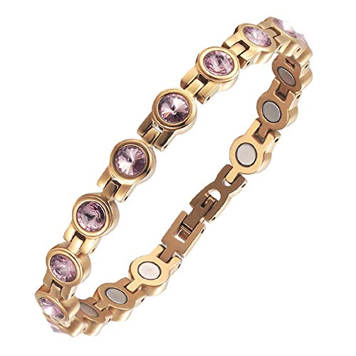 HJGHY Stainless Steel + Zircon Magnetic Bracelet,Arthritis Pain Relief and Carpal Tunnel Healing Bracelets for Women with Sizing Tool,Rose