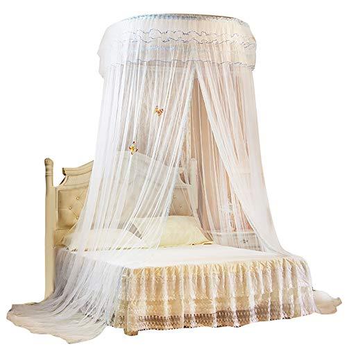 Wifehelper Atmungsaktive Runde Baldachin Spitze Prinzessin Stil Moskitonetz Bett Vorhang Netting Home Schlafzimmer Dekor(Weiß)