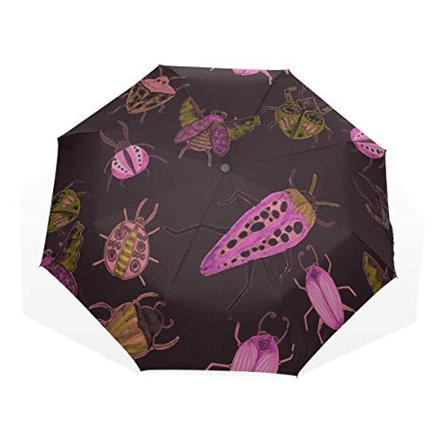 Sonnenschirm Reisen Kindliche Karikatur Süße Schmetterlingsbiene 3-Fach Kunst Regenschirme (Boy Travel Umbrella Frauen Umbrella Folding Travel