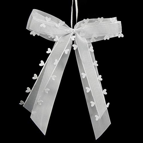 O-Kinee 35 STK. Autoschleifen Antennenschleifen Weiß mit Herzen Schleifen Hochzeit Handgemacht Satinband für Dekoration Feste (35 Stück)
