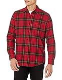 Amazon Essentials - Camisa de franela a cuadros de manga larga y ajuste regular para hombre, Rojo (Red/Yellow Plaid), US S (EU S)
