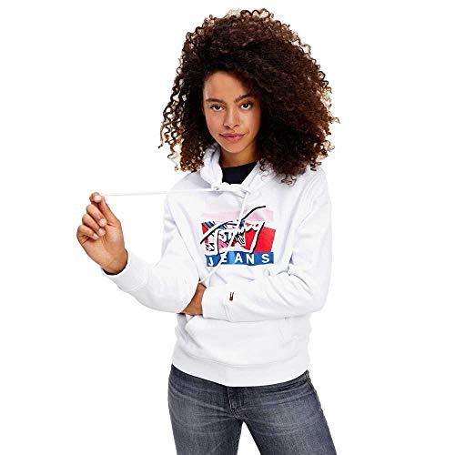 Tommy Hilfiger Damen Tjw Modern Logo Hoodie Pullover, White, M