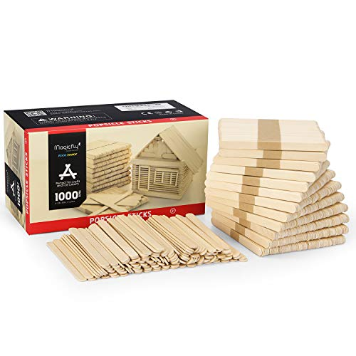 Magicfly 1000pcs Popsicle Sticks, Natural Wooden Food Grade Craft Sticks, 4-1/2 Inch Great Bulk Ice Cream Sticks for Craft Project, Home Decoration