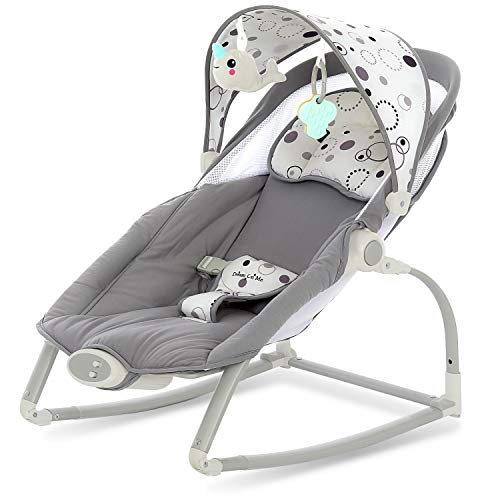 Dream On Me We Rock Infant Rocker II Baby Bouncer Perfect to Calm Baby Comfy Nap Time, Grey