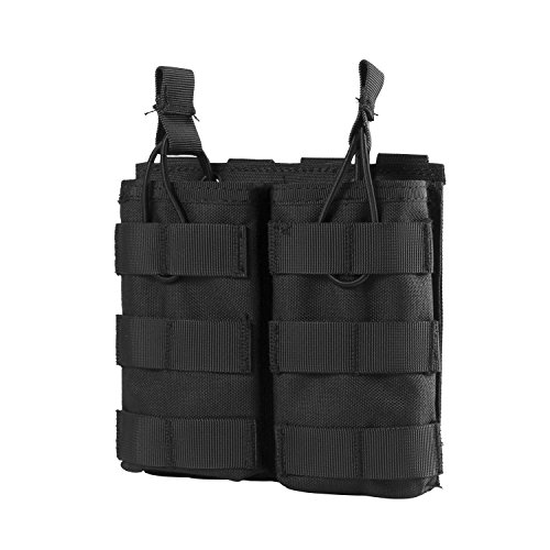 OneTigris Tactical MOLLE Double Open-Top Mag Pouch for AR M4 M16 HK416 Magazines (Black)