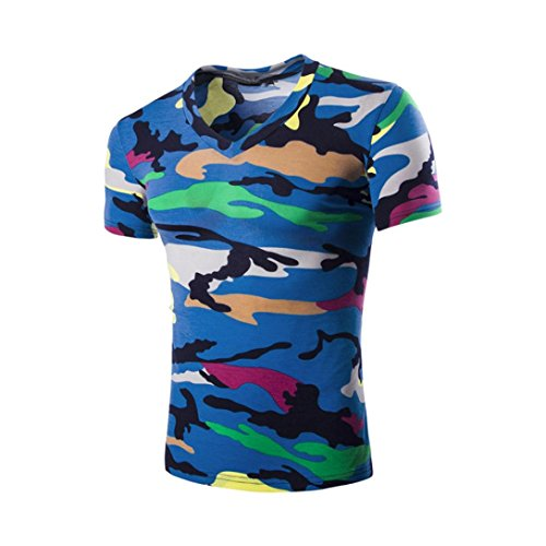 Tefamore Hommes Chemisier d'été Chemisier de Camouflage Hommes T-Shirt à Manches Courtes (M, Bleu)