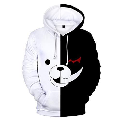 Sudadera con capucha para nios Danganronpa Monokuma con diseo de dibujos animados y personajes de anime, sudadera de oso blanco y negro para disfraz de cosplay unisex para nios