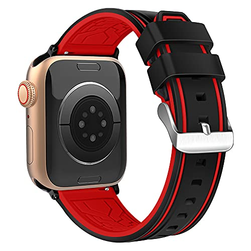 XMUXI Compatible con Apple Watch Band 40 mm 38 mm 44 mm 42 mm Soft Sport Strap for iWatch Apple Watch SE & Series 6 5 4 3 2 1 (reloj no incluido) (42 mm/44 mm, #2 negro + rojo).