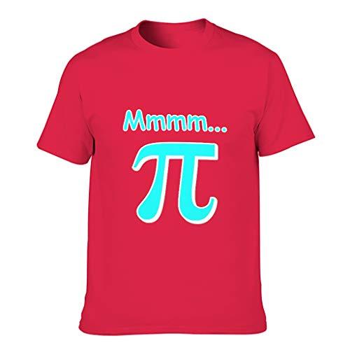 Herren Baumwoll-T-Shirt Mmm Pi ultraweich Rundhalsausschnitt -Pi Oberhemd für Laufen red1 2XL
