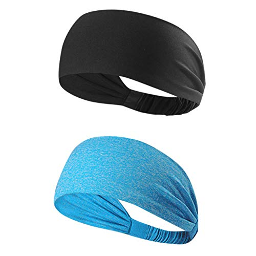 Kousa Hoofdband, 2 stuks, sport-polyester-vezel-hoofdbanden uniseks, elastisch, zweetafvoerend, anti-slip hoofdbanden voor hardlopen, reizen, fitness, paardrijden