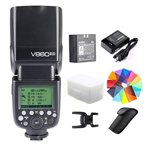 Godox V860II-S Kit HSS 1/8000s GN60 2.4G TTL 1.5s Recycle Time Li-ion Battery Camera Flash Speedlite Light Compatible for Sony Camera & Color Filters & Diffuser (V860II-S)