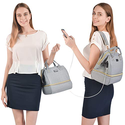 Viedouce Women's Insulated Lunch Bag for Work Backpack Cooler Breast Pump Bag Handbag Wallet Purse for Mom, Gray