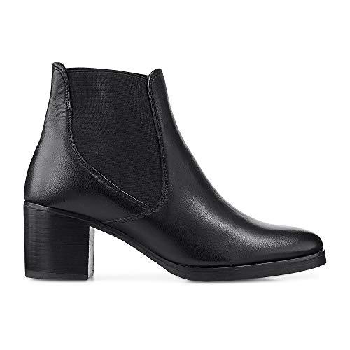 DRIEVHOLT Damen Chelsea-Stiefeletten aus Leder, Stiefel in Schwarz mit Block-Absatz Schwarz Leder 42