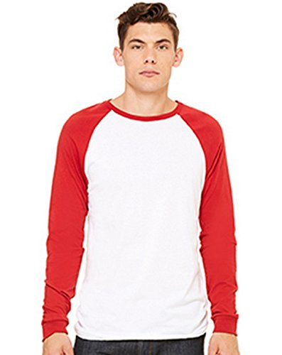 Canvas Men's Hawthorne Baseball long Sleeve T-Shirt - WHITE/CANVAS RED...
