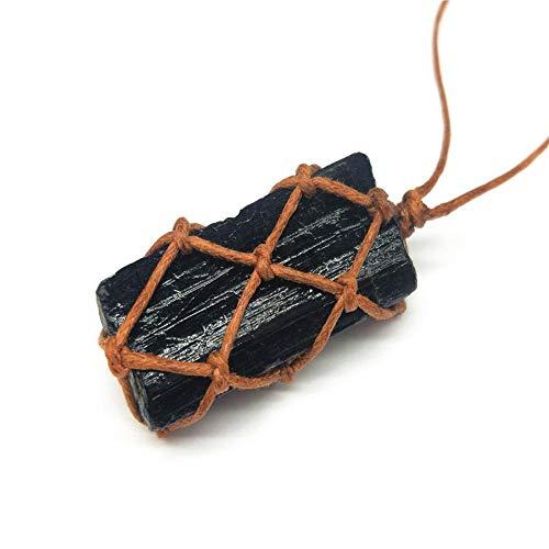1 Stuks Zwarte Toermalijn Kristal Ketting, Hand Gevlochten Chakra Edelsteen Hanger Ketting Voor Mannen En Vrouwen (1,38-1,58 Inch)