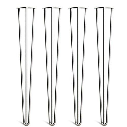 4x Haarnadel Tischbeine Tischkufen Tischgestell mit Dreifachstab inklusive Freie Bodenschoner für Kaffeetisch, Tisch und Schreibtisch, Silber (71cm)