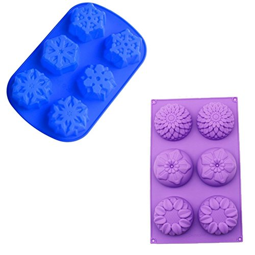 Gathere 2Pcs Mix Flower Snowflake Shape Silicone Mold for Jelly Biscuits Soap Chocolate Candy Cupcake Ice Cube Muffin Pan Bath Bomb Christmas Baking Mould